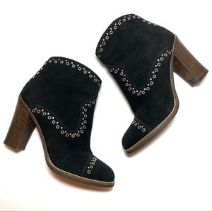 Lucky Brand Black Studded Marionn Suede Bootie 8